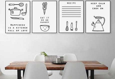 15. Quadros decorativos para cozinha em preto e branco com gravuras divertidas. Fonte Pinterest