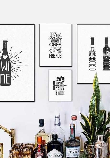 14. Quadros decorativos para cozinha para aqueles que apreciam vinho. Fonte Pinterest