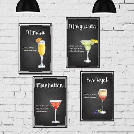 7. Quadros decorativos para cozinha para quem é apaixonado por drinks. Fonte Pinterest