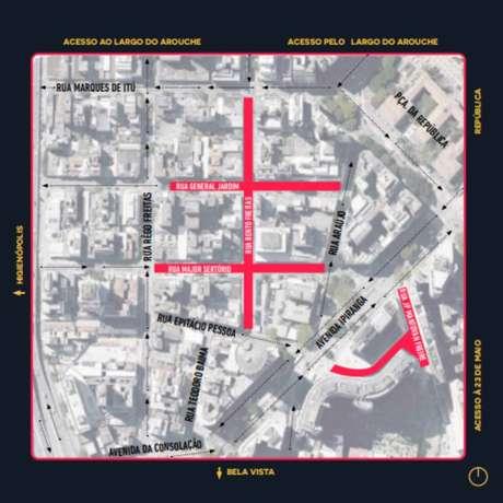 Mapa divulgado pela Prefeitura de São Paulo com as ruas que serão testadas no plano piloto de permissão para mesas e cadeiras nas calçadas