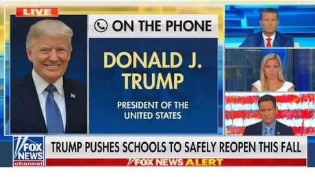Trecho de entrevista de Trump sobre covid-19 e crianças foi postado nas redes do presidente americano e, depois, retirado pelas próprias mídias sociais