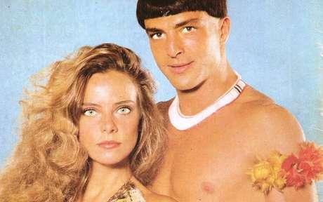 Aritana (Carlos Alberto Riccelli) e Estela (Bruna Lombardi), o casal protagonista da novela: uma história de amor bela e exótica