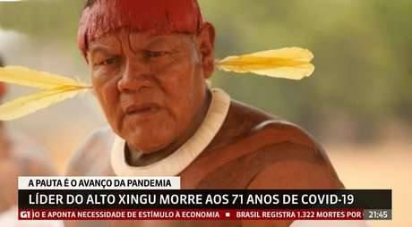 A morte do cacique Aritana anunciada na GloboNews: mais uma vítima do novo coronavírus no Brasil