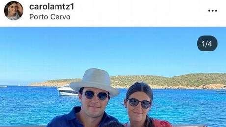 Pérez posa ao lado da esposa na Itália. Publicação foi deletada
