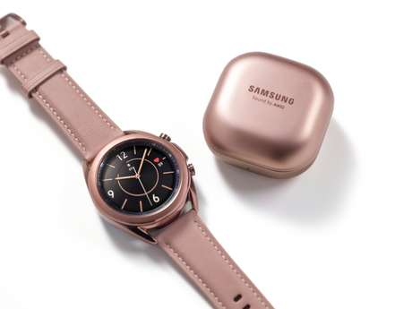 "O novo Galaxy Watch3 e a caixa do novo Galaxy Buds Live, ambos na cor ""bronze místico"""