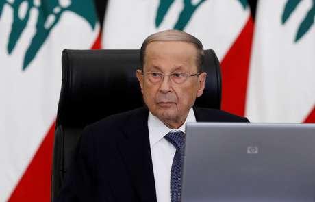 Presidente do Líbano, Michel Aoun, em Baabda 06/05/2020 Dalati Nohra/Handout via REUTERS
