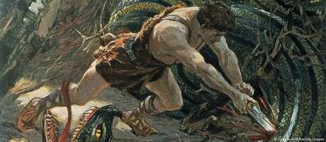 Siegfried mata o dragão às margens do Reno, em quadro de Max Koch
