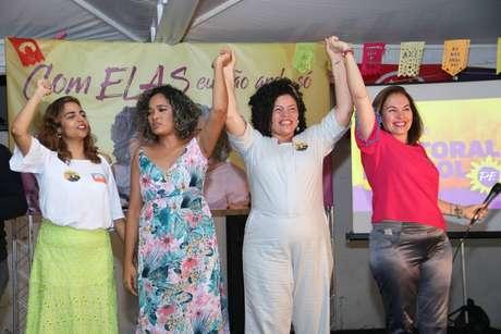 Eugênia Lima (candidata ao Senado), Gerlane Simões (candidata a vice-governadora), DaniellePortela (candidata agovernadora) e Albanise Pires (Senado)participaram de chapa 100% feminina do PSOL para as eleições 2018 em Pernambuco.