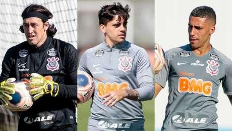 Cássio, Fagner e Gabriel, são os tricampeões paulistas pelo Corinthians (Foto: Montagem/Ag. Corinthians)