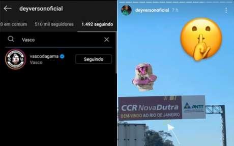 Deyverson seguiu o Vasco no Instagram e publicou uma foto na estrada para o Rio de Janeiro (Foto: Reprodução/Instagram)