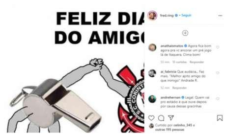 Postagem no Instagram de Fred com criticas de colegas da Globo (Foto: Reprodução - Instagram)