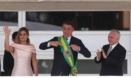 Jair Bolsonaro e Michel Temer durante cerimônia de posse, em 1º de janeiro de 2019