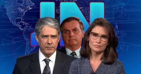 Cobranças de William Bonner e Renata Vasconcellos a Bolsonaro repercutiram nas redes sociais e geraram manchetes na imprensa