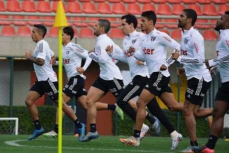 Jogadores do São Paulo durante treino no CT (Foto: Divulgação/São Paulo)