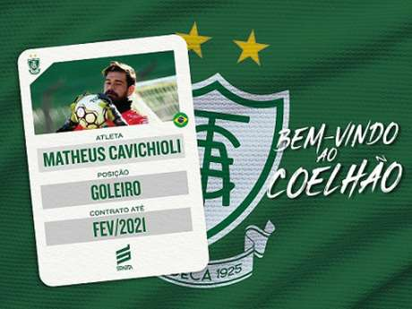 Matheus estava no Guarani-SP e reforçará a meta do Coelho até o fim da Série B-(Divulgação/América-MG)