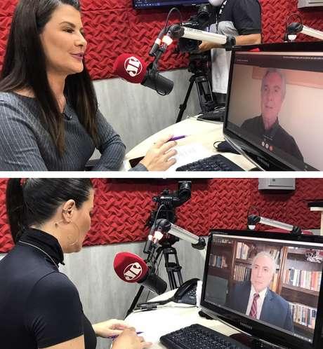 A âncora Patrícia Calderón na condução das entrevistas exclusivas com Collor e Michel Temer: olho no olho, remotamente
