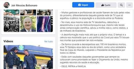 O post de Jair Bolsonaro com críticas à Globo teve 30 mil compartilhamentos no Facebook