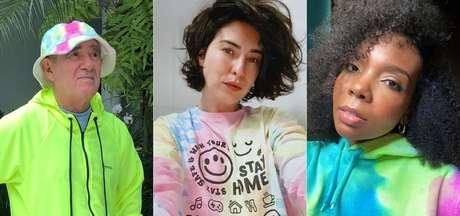 O humorista Renato Aragão, a atriz Fernanda Paes Leme e a médica e vencedora do BBB20 Thelma Assis posam com seus looks tie-dye
