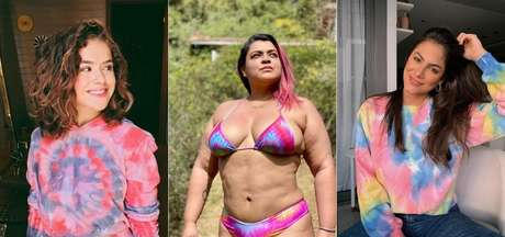 A apresentadora Maisa Silva, a cantora Preta Gil e a ex-bbb Mari Gonzalez aderiram à moda tie-dye, não importa se no biquíni ou moletom