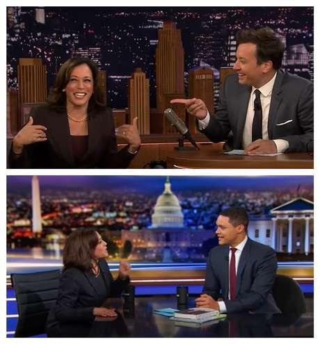 Acima, no talk show The Tonight Show, de Jimmy Fallon, na NBC; abaixo, com Trevor Noah no The Daily Show, da Comedy Central