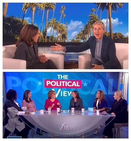 A senadora californiana com Ellen DeGeneres na NBC e, abaixo, na mesa redonda feminina The View, na ABC