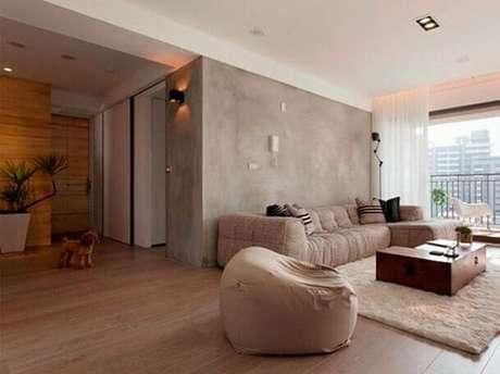 15- Na sala de estar o marmorato tem as mesmas nuances dos móveis da sala. Fonte: Tinturas Tristão