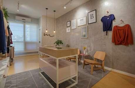 63- Nos espaços comerciais as paredes com textura de marmorato conferem ao ambiente requinte e sofisticação. Fonte: Pinterest