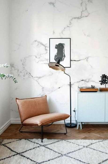 72. Sala de estar com efeito marmorato – Via: Pinterest