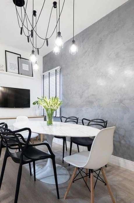 73. Sala de jantar marmorato moderno – Via: Pinterest