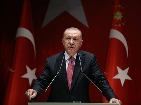 Presidente turco, Tayyip Erdogan, discursa durante reunião do partido governista AK 13/08/2020 Imprensa da Presidência da Turquia/Divulgação via REUTERS