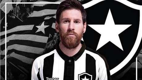 Sobrou até uma montagem em que Messi foi vestiu a camisa do Botafogo