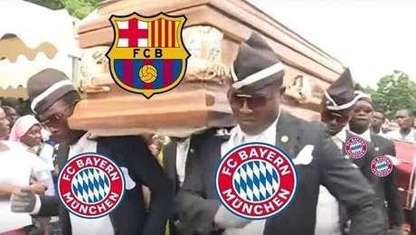 Derrota do Barcelona virou 'meme do caixão'
