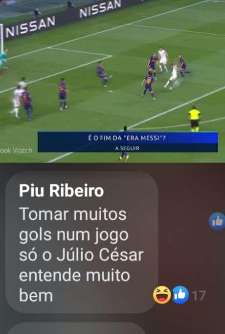 O ex-goleiro Julio Cesar, comentando vitória do Bayern por 8 a 2 sobre Barcelona, foi alvo de gozações