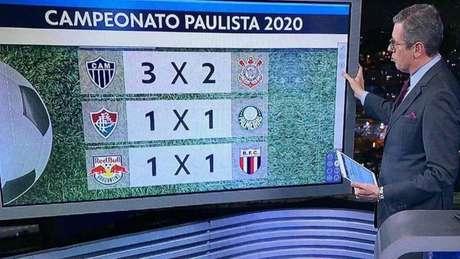 Márcio Gomes apresentou jornal em São Paulo com confusão de nome e escudo de futebol (Reprodução/ TV Globo)