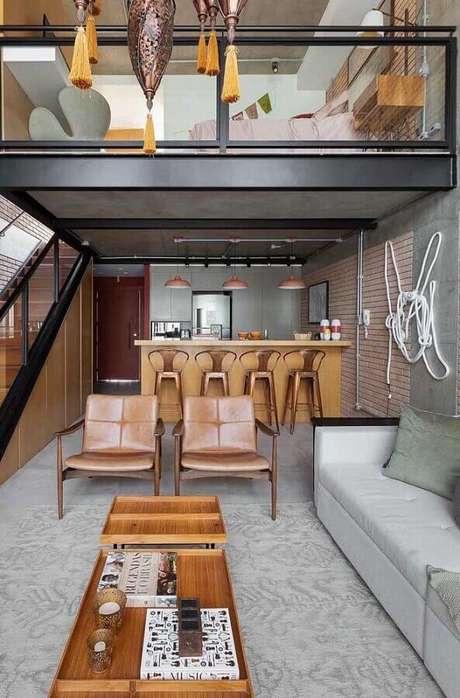 34. Kit poltrona decorativa para sala moderna com estilo industrial -Foto: Futurist Architecture