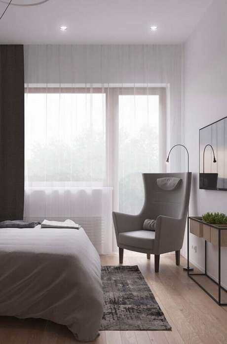 60. Design moderno de poltrona decorativa para quarto de casal – Foto: Pinterest