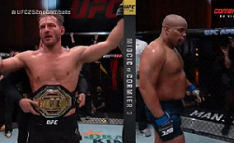 Stipe Miocic manteve o cinturão em luta que marcou despedida de Cormier do MMA (Foto: Reprodução/Combate)
