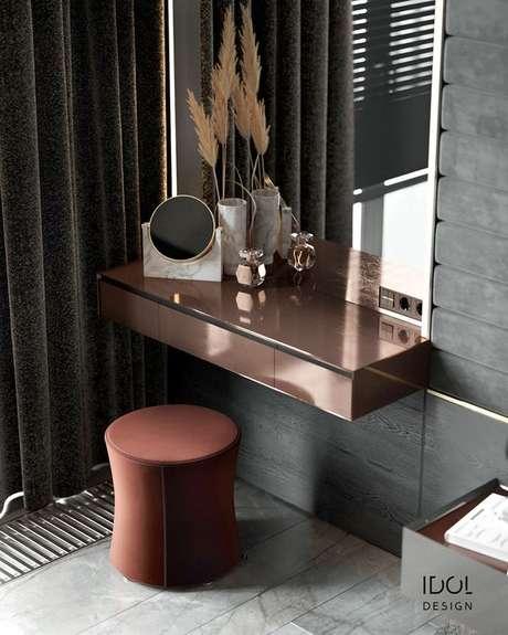 31. Penteadeira suspensa cobre com espelho amplo – Via: Behance