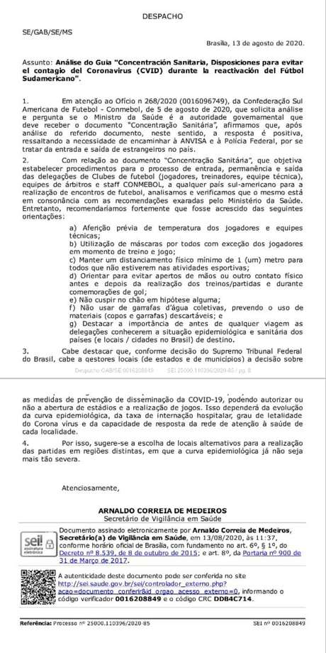 Protocolo sanitário da Conmebol.