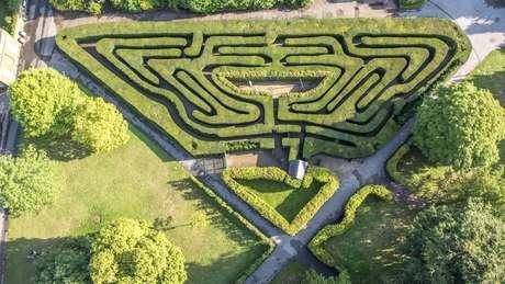 Vista aérea do labirinto do Hampton Court Palace