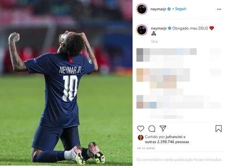 Post de Neymar sobre a classificação do PSG à final da Champions League gerou mais de 2 milhões de curtidas
