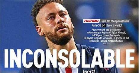 Recorte da primeira página do jornal esportivo francês L'Équipe: inconsolável sim, porém mais em evidência do que nunca
