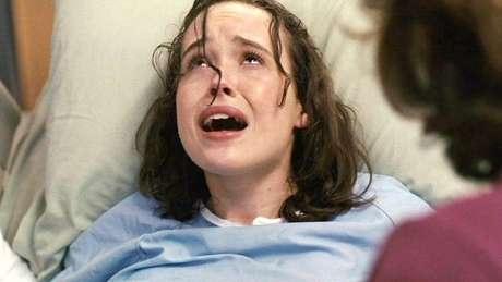 Ellen Page em 'Juno', durante uma cena de parto