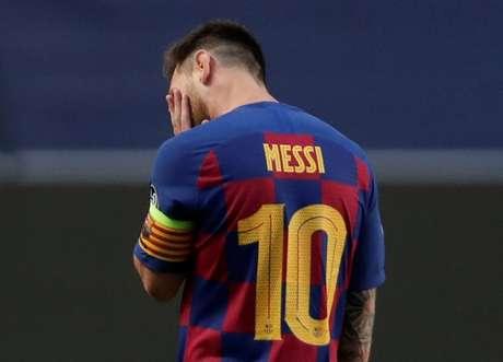 Lionel Messi durante partida do Barcelona na Liga dos Campeões 14/08/2020 Manu Fernandez/Pool via REUTERS