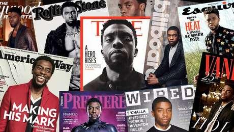 Chadwick Boseman na capa de algumas das principais revistas do planeta: o sucesso transformado em incentivo na batalha contra a discriminação