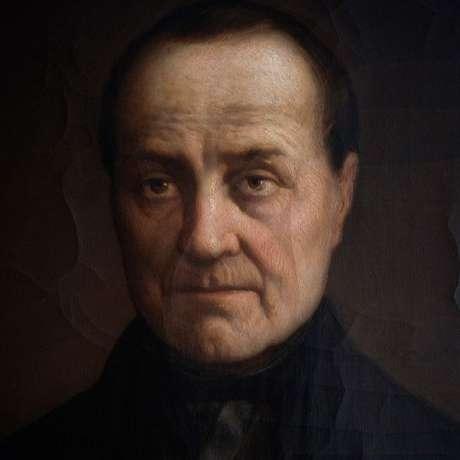 Retrato de Auguste Comte feito pelo pintor belga Jules Leonard, em 1860