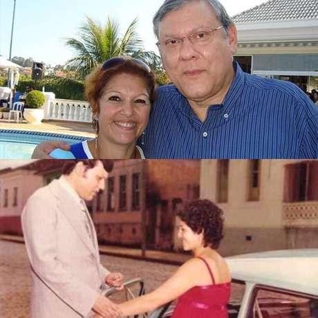 Jornalista Milton Neves com a esposaLenice Chame Magnoni Neves em dois momentos de suas vidas