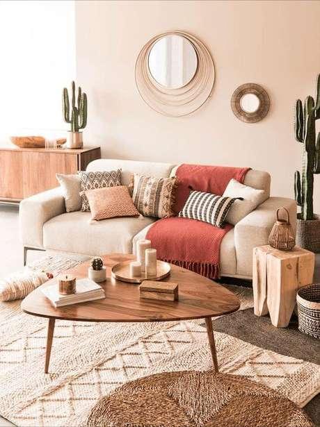 30. Sala moderna com mesa pé palito de madeira – Via: Pinterest