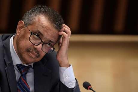 Diretor-geral da OMS, Tedros Adhanom Ghebreyesus 03/07/2020 Fabrice Coffrini/Pool via REUTERS