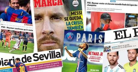"""""""Je reste"""", """"Yo me quedo"""": Neymar e Messi reforçam o protagonismo na imprensa francesa e espanhola"""